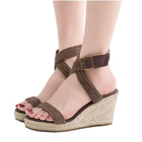 Women Peep Toe Adjustable Buckle Sandals