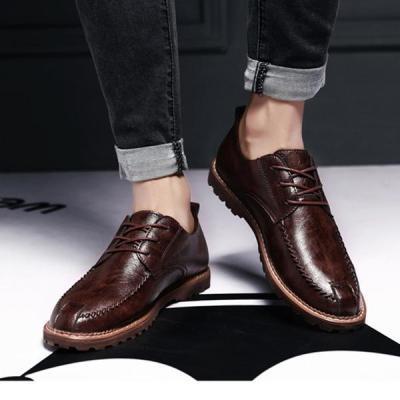 Men's Retro Vintage Martin Boots Pure Color Flat Shoes