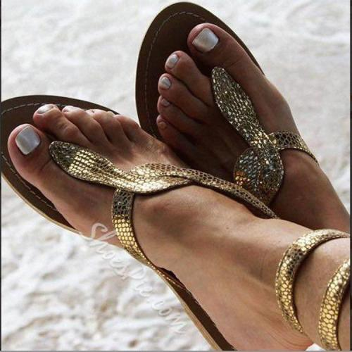 Women's Snake Print Flip-flops Buckle Flat Sandals