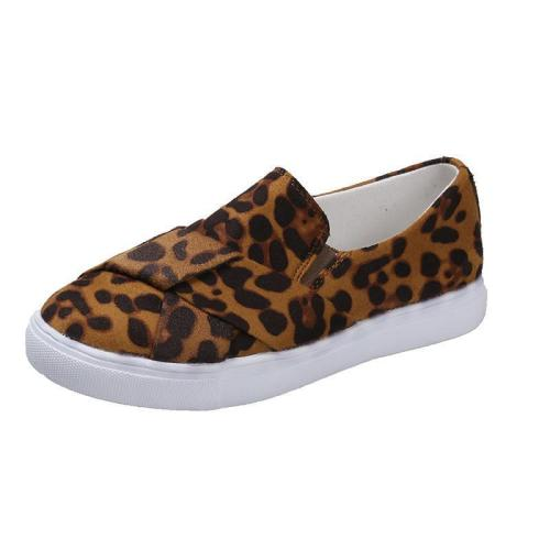 Leopard Print Non-Lace Slip-On Casual Flats