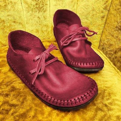 Vintage Lace-Up Artificial Leather Handmade Moccasins
