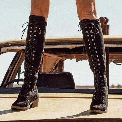 F/W Chic Solid Low-heel Riding Boots