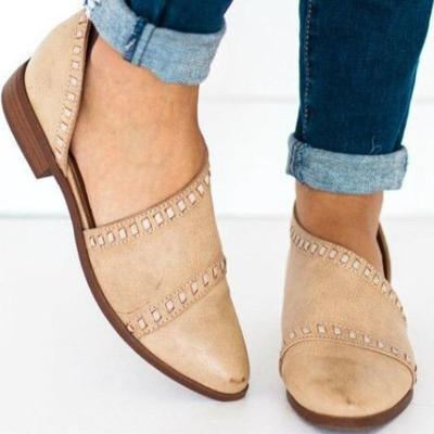 Women Pointy Toe Low Heels Vintage Pu Sandals
