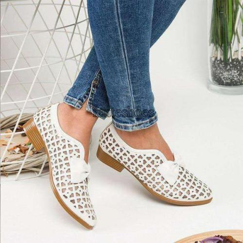 Summer Custom Top Flat Bottom Hole Shoes Big Size Bow Style Single Shoe Women
