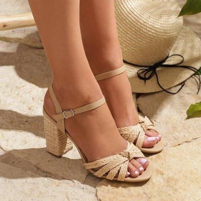 Women Summer Interweave Casual Buckle High Heels Sandals