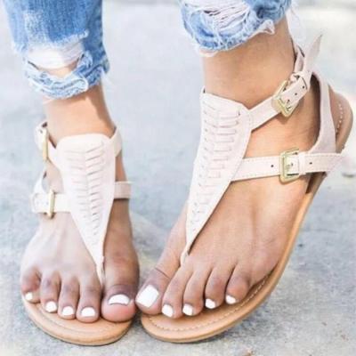 Bohemian  Flat  Velvet  Peep Toe  Casual Flat Sandals