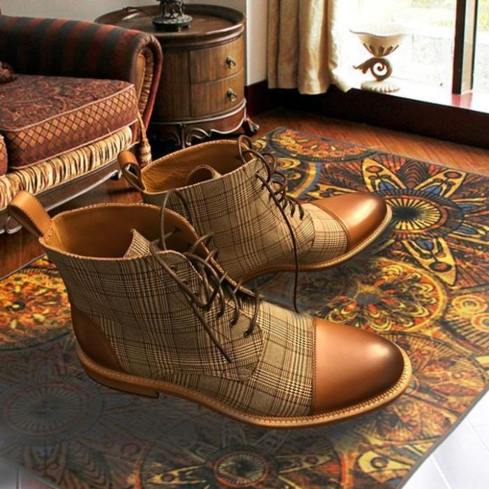 British Plaid Casual Martin Boots