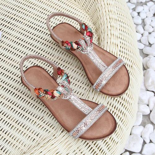 Sandals Ladies Shoes Bohemian Slope Heel Sandals Large Size Sandals