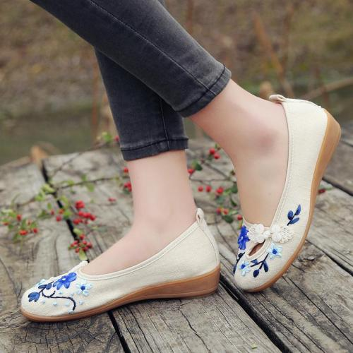 Flower Trim Folk Vintage Low Wedges Shoes