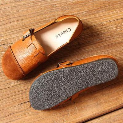 Genuine Leather Buckle Color Blocking Soft Flat Loafers
