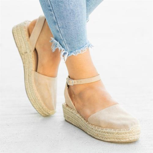 Classic Espadrille Sandals Platform Buckle Strap Sandals