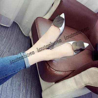 Women Flats Metal Buckle Flat Shoes Women Loafers Patent Leather Ladies Shoes Casual Pointed Toe