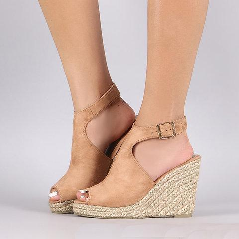 Wedge Heel Sandals Adjustable Buckle Peep Toe Sandals