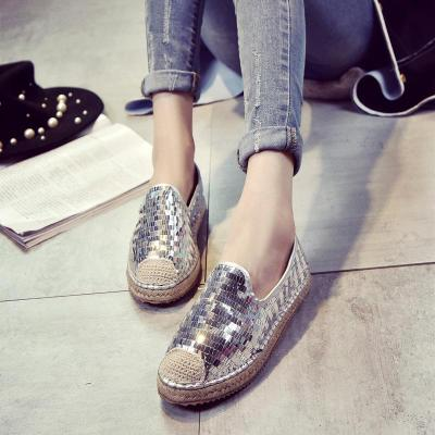 Women Leatherette Flat Loafers Casual Sequin Closed Toe Flat Heel Shoes