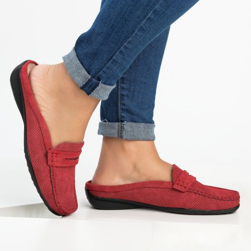 Perforated Loafers Flats - Red