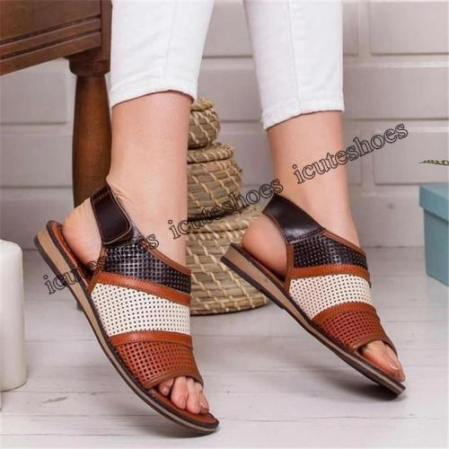 Women Flat Sandals Hollow out Ladies Hook Loop PU Leather Flat Shoes Woman Peep Toe