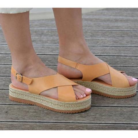 Leather Flatform Sandals Criss Cross Sandals