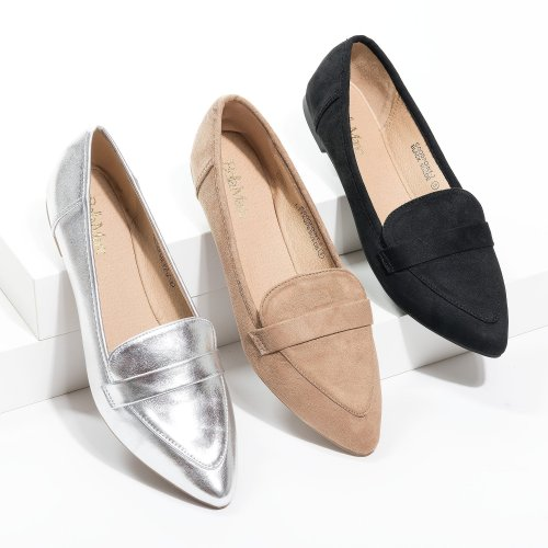 Pointed Taupe Loafer Flats