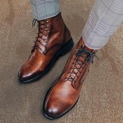 Men Genuine Leather Vintage Lace Up Martin Boots