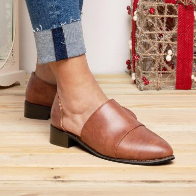 Large Size Pointed Toe Suede Flat Loafers