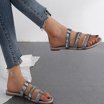 Band Strap Vintage Flat Heels Casual Mule Sandals