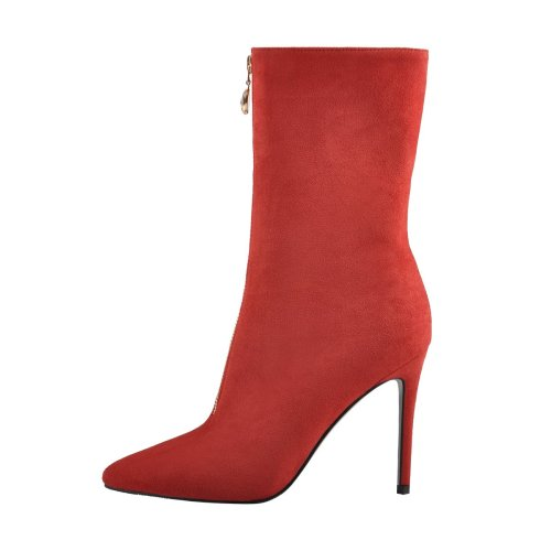 Suede Pointed Toe Rhinestone Front Zipper Ankle Boots