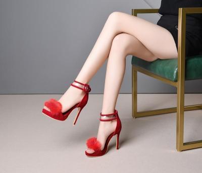 Women Sandals Fur Sexy Stiletto High Heels Summer Shoes