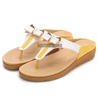 Shoes Color Matching Sandals Bowknot Women's Shoes Casual Flat Shoes Sandals