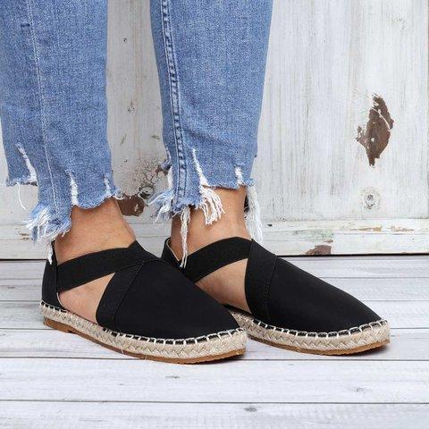Women's Suede Round Toe Espadrille Flat Sandals