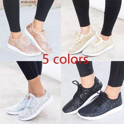Women New Flat Bottom Sequins Casual Shoes Sneakers