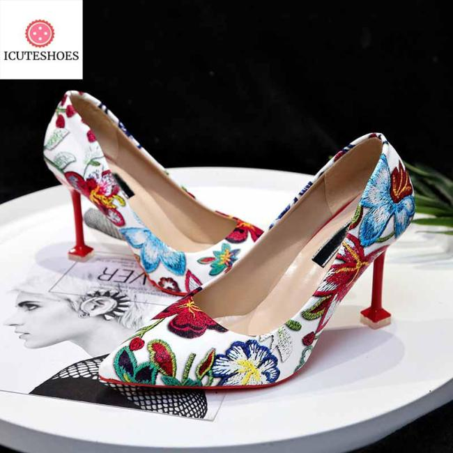 elegant high-heeled sexy pointed shoes wedding party shoes