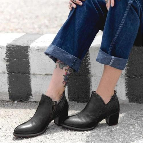 Women's Vintage Solid Color Side Zipper Thick Boots