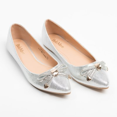 Bow Point-Toe Silver Flats