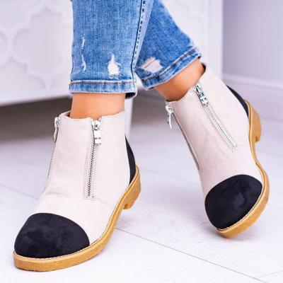Faux Suede Color Block Side Zipper Boots