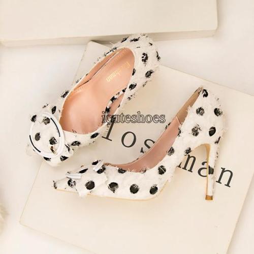 Wool Cloth Shallow Tip Head High-heeled Metal Buckle Bow Single-shoe Sweet Heels Female