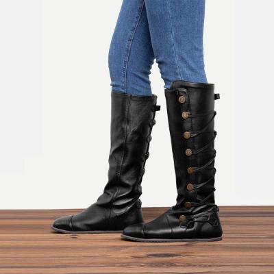Women Fashion Side Buttons Flat Heel Boots