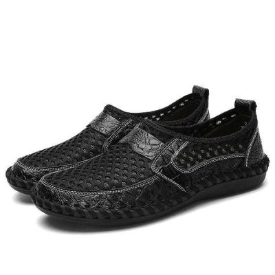 Menico Men Stitching Honeycomb Mesh Soft Loafers Breathable Outdoor Casual Shoes