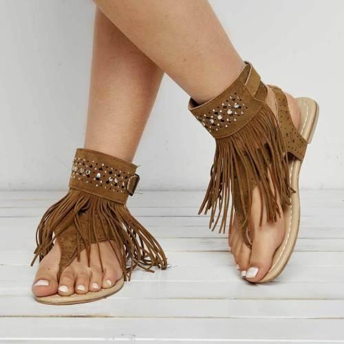 Tassel Decoration Flat Heel Women's Sandals