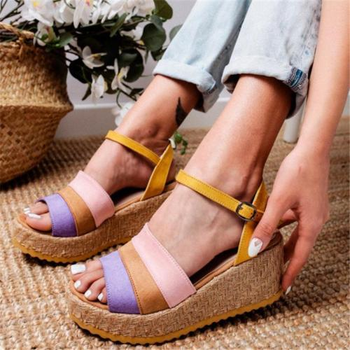 Retro Minimalist Versatile Contrast Wedge Sandals