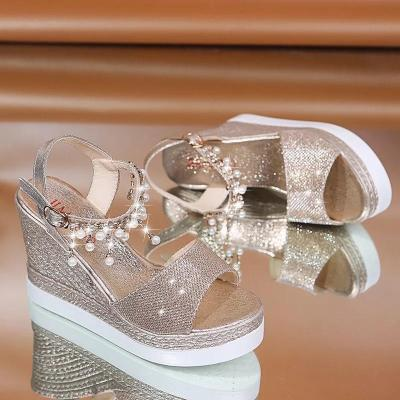 Shiny Rhinestone Beading Buckle Girly Sky-High Wedges Sandals