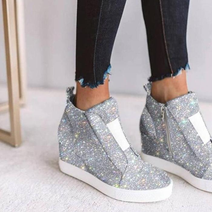 Sparkling Side Zipper Wedge Sneakers