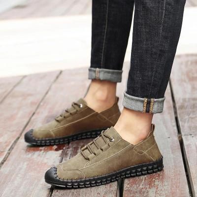 Men Casual Microfiber Hand Stitching Loafers Two-wear Way Flats