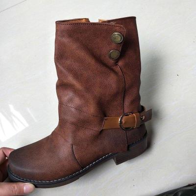Women Daily Zipper Winter Low Heel Plus Size Boots
