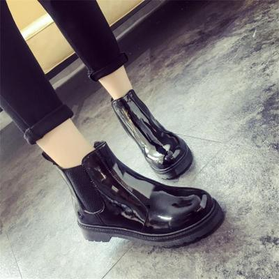 Fashionable round head elastic bright skin solid color women's Boots DWQ32
