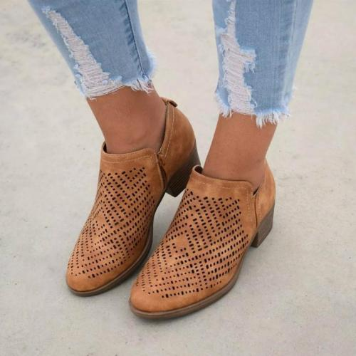 Textured Laser Cut Bootie Shoes