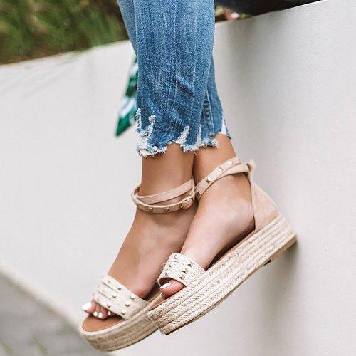 Womens Flat Platform Espadrille Ankle Strap Open Toe Sandals