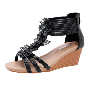 Flower Wedge Shoes Cover Heel Casual Black Sexy Popular Sandals Women Summer Shoes