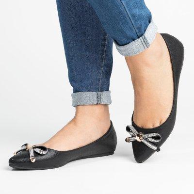 Bow Point-Toe Black Flats