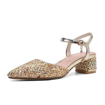 Gorgeous Glitter Chunky Heel Summer Sandals