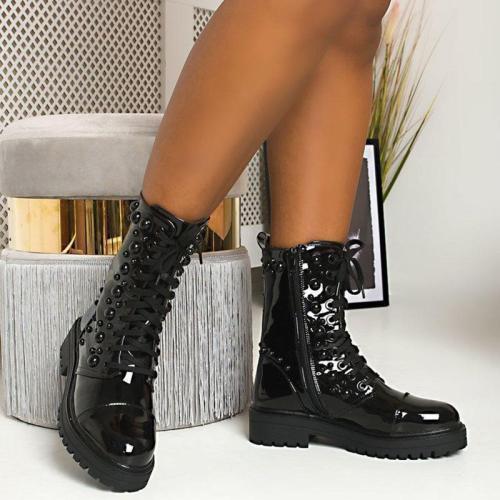 Women's Fashion Black Lace Martin Boots